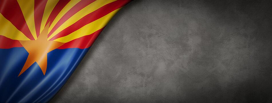 Arizona flag on concrete wall banner, USA