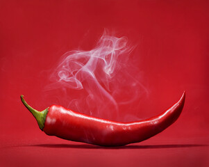 Red hot chili peper op rode achtergrond met rook. Stilleven met stoom Mexicaans paprikakruid.