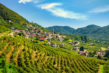 Prosecco Hills, vineyards and Santo Stefano village. Unesco Site. Valdobbiadene, Veneto, Italy
