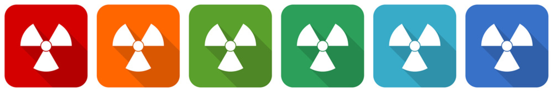 Radiation icon set, flat design vector illustration in 6 colors options for webdesign and mobile applications