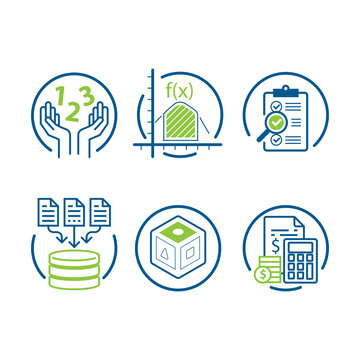 Math numbers and financial literacy icons