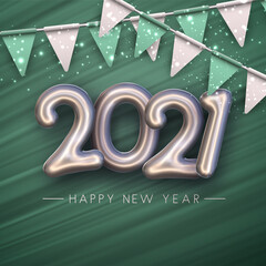 Deurstickers Graffiti collage Silver foil balloon 2021 sign on green background.