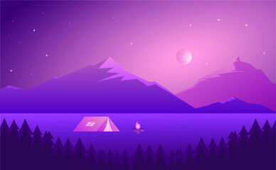 Camping area landscape with tent, bonfire and mountains
