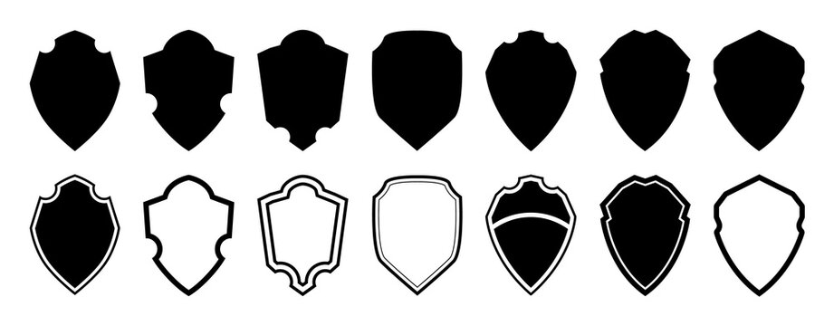 Military shield Vector. Police badge shape, Security, football patches isolated on white background. Heraldic royal design in flat style. Vector illustration.