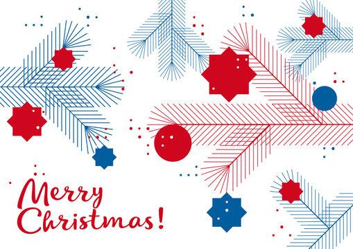 Grafische Weihnachtskarte, Tannenzweige mit Kugeln,  Design, geometrische Formen, deutsch und englisch