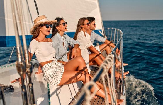 Friends on yacht