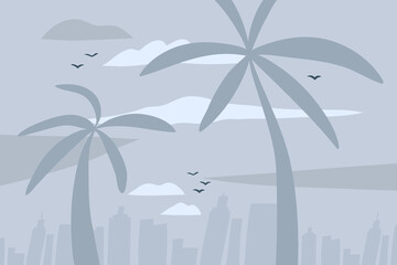 Hand drawn vector abstract stock flat graphic illustration with city urban view scene on the beach and palm trees isolated on blue grey pastel background Wall mural