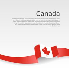 Canada flag background. Canada flag wavy ribbon on white background. National poster. Business booklet. Vector design. State canadian patriotic banner, flyer