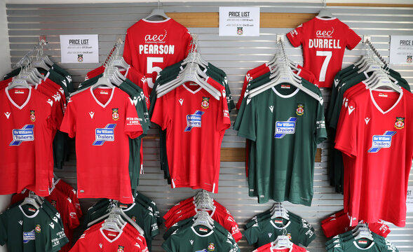 Club shirts are seen for sale at The Racecourse stadium, the home of Wrexham Football Club, in Wrexham, Britain