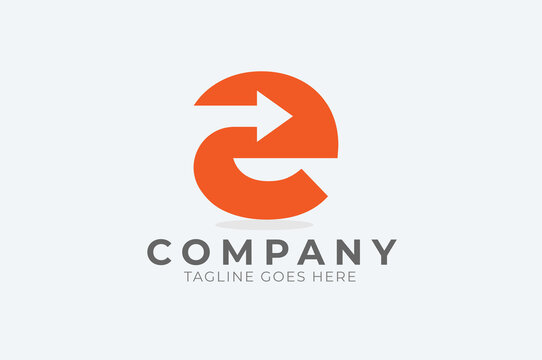 Initial E Logo, letter E with with arrow inside, Usable for Business and logistic Logos.vector illustration