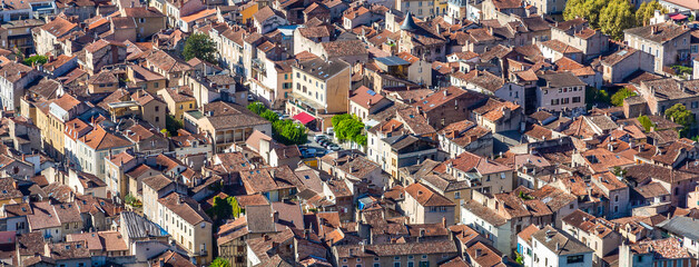 Medieval houses in the old town of Cahors, France