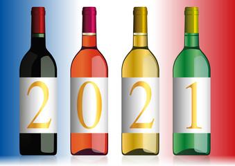 Présentation originale du millésime 2021 avec l'année inscrite sur quatre bouteilles de vins de Bordeaux de différentes couleurs.