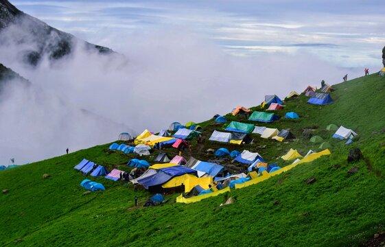 Camps at Bheem Dwar, Shrikhand Mahadev, Kullu, Himachal Pradesh, India