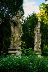 Stone statues of Cyril and Methodius.