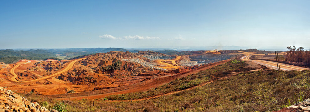 Panoramic view of an open pit mine in Africa