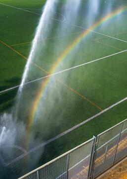 Watering soccer field