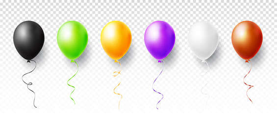 Colorful balloons set isolated on transparent background. Vector illustration
