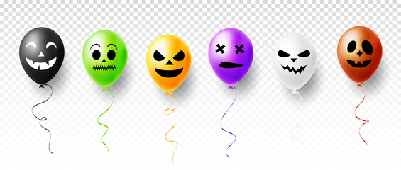 Halloween ghost and scary air balloons isolated on transparent background. Vector illustration