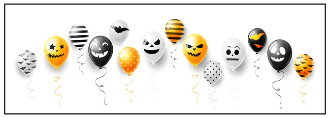 Happy Hallooween vector illustration with ghost and scary air balloons
