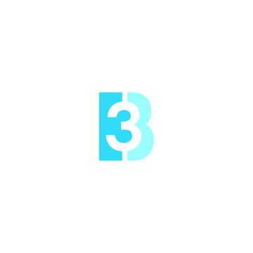 B logo B3 vector icon illustration