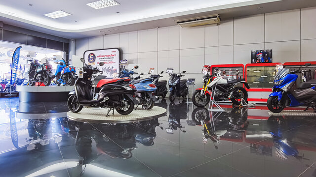 KANCHANABURI, THAILAND -JUNE 30, 2020 : Special discounted new Yamaha motorcycles and accessories for sale at Yamaha motorcycle shop in Tha Muang district, Kanchanaburi Thailand.