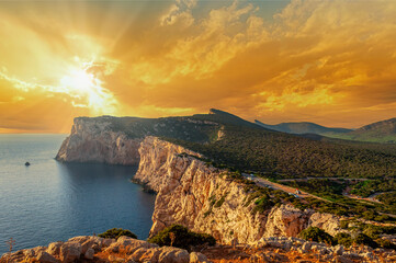 Landscape of sardinian coast at sunset