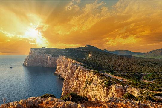 Landscape of sardinian coast at sunset