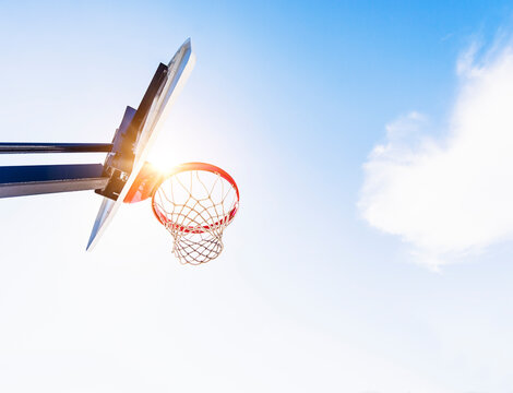 Low-angle view of basketball hoop