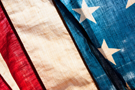 Close-up view of antique American flag