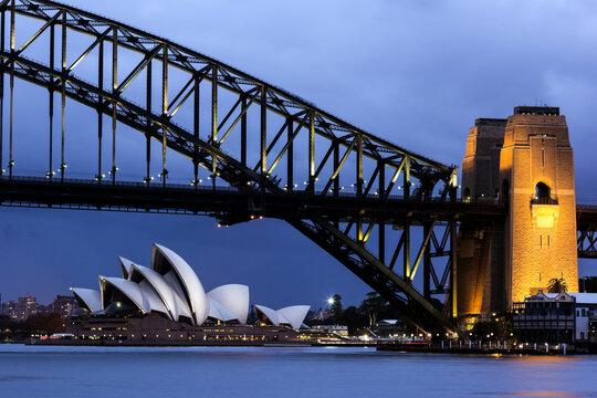 Cityscape view of bridge and Opera House