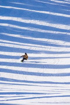 Man snowboarding across shadows