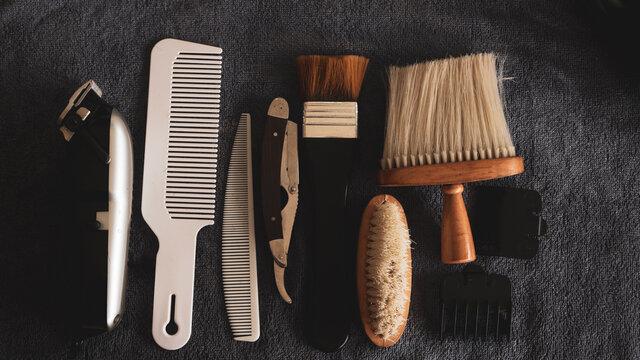 A set of vintage tools in a barber shop,Vintage barber equipment