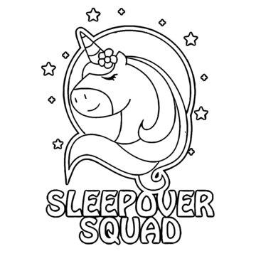 sleepover squad unicorn womens v neck longsleeve shirt Coloring book animals vector illustration
