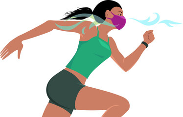 Woman running in a breathable protective face mask, EPS 8 vector illustration, no transparencies
