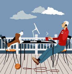 Man working remotely from the deck of his house with a dog looking at him, EPS 8 vector illustration