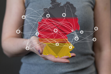 3d germany map digital outline silhouette