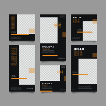 Design backgrounds for social media banner.Set of instagram stories and post frame templates.Vector cover. Mock up for personal blog or shop.Layout for promotion.