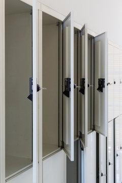 White open lockers