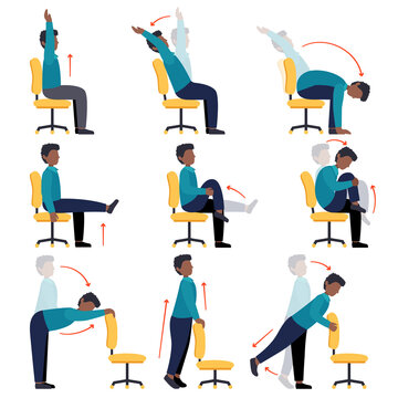 Instructions black men doing office chair yoga. Set of workers workout for healthy back, neck, arms, legs. Sport exercises for the wellbeing. Vector illustration isolated on white background.