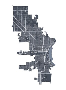 Milwaukee map. Detailed map of Milwaukee city poster with streets. Cityscape vector.
