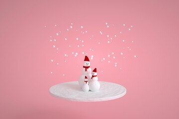 Snowman family with scarf and hat in pink colors. Christmas snow symbol. Minimal 3d render