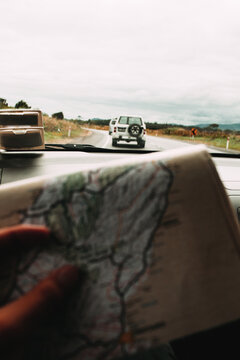 Displaying a map on a road trip