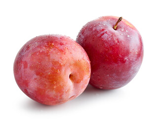 fresh ripe wet red plums
