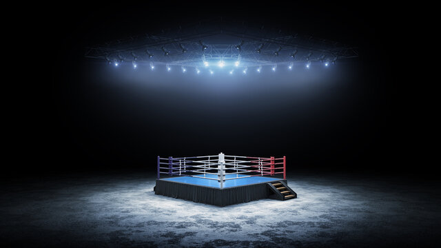 3D boxer arena. Isolated empty boxing ring with light. 3D rendering. Boxing ring with illuminated spotlights
