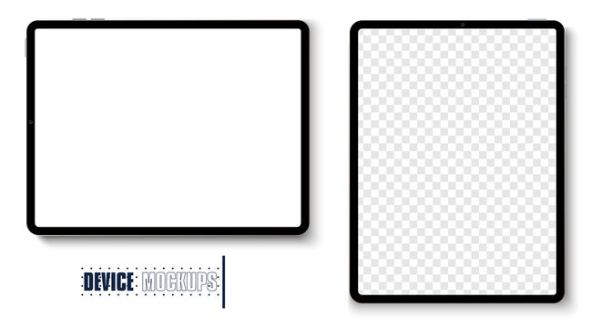 New version Apple iPad pro 2020 space gray of premium tablet in trendy thin frame design. Tablet grey color with shadow top view isolated on white background. Vector illustration