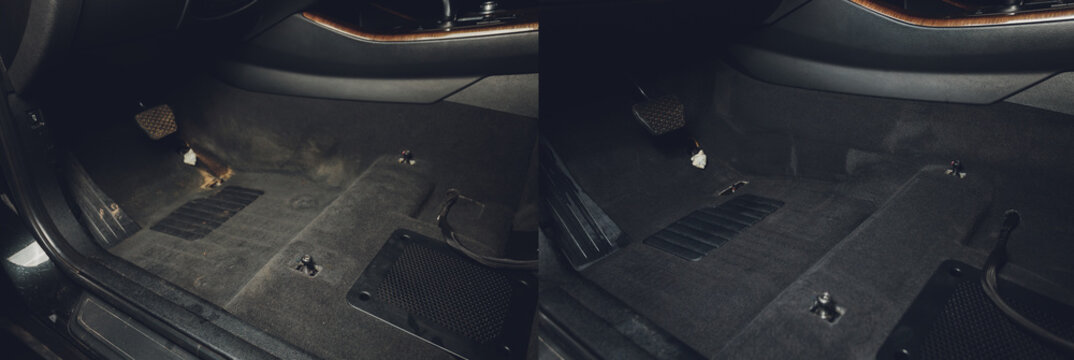 professional dry cleaning salon in the car. before and after.