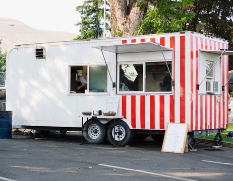 Food trailer parked ready for business