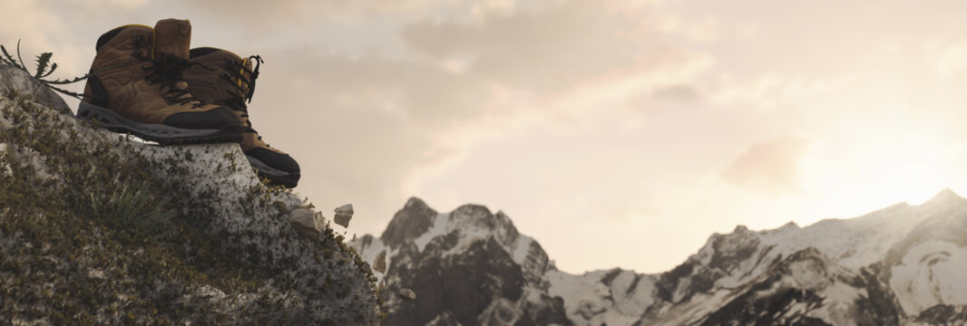 Wanderschuhe oben auf der Felskante vor schneebedeckter Bergkette. 3D Rendering