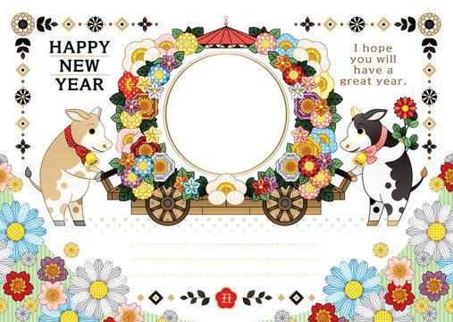 2021年2033年丑年イラスト年賀状デザイン「牛と花車フレーム枠」HAPPY NEW YEAR (year of the ox illustration new year's card greeting post card design cow and flower cart frame happy new year)