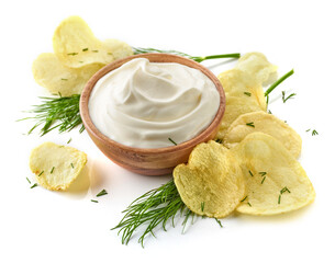 potato chips and bowl of sour cream dip